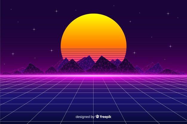 Download Retro Futuristic Landscape Background With Sun For Free Landscape Background Retro Futuristic Vector Free