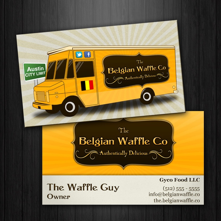The belgian waffle co food truck vintage business for Trucking business card design