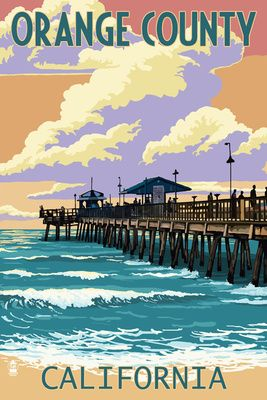 Orange County, California - Pier and Sunset - Lantern Press Poster