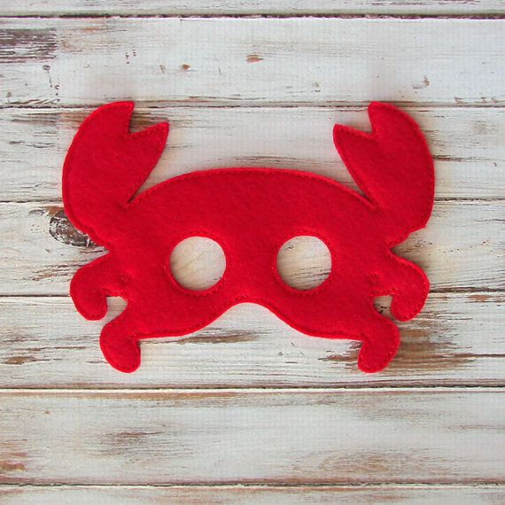 Under The Sea, Red, Crab, Kids Mask - Dress Up - Halloween, Crab Costume, Party Favors