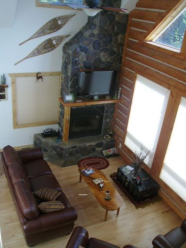 Fox Hollow living room. Design your very own log cabins! Get started today!! 250-566-8483