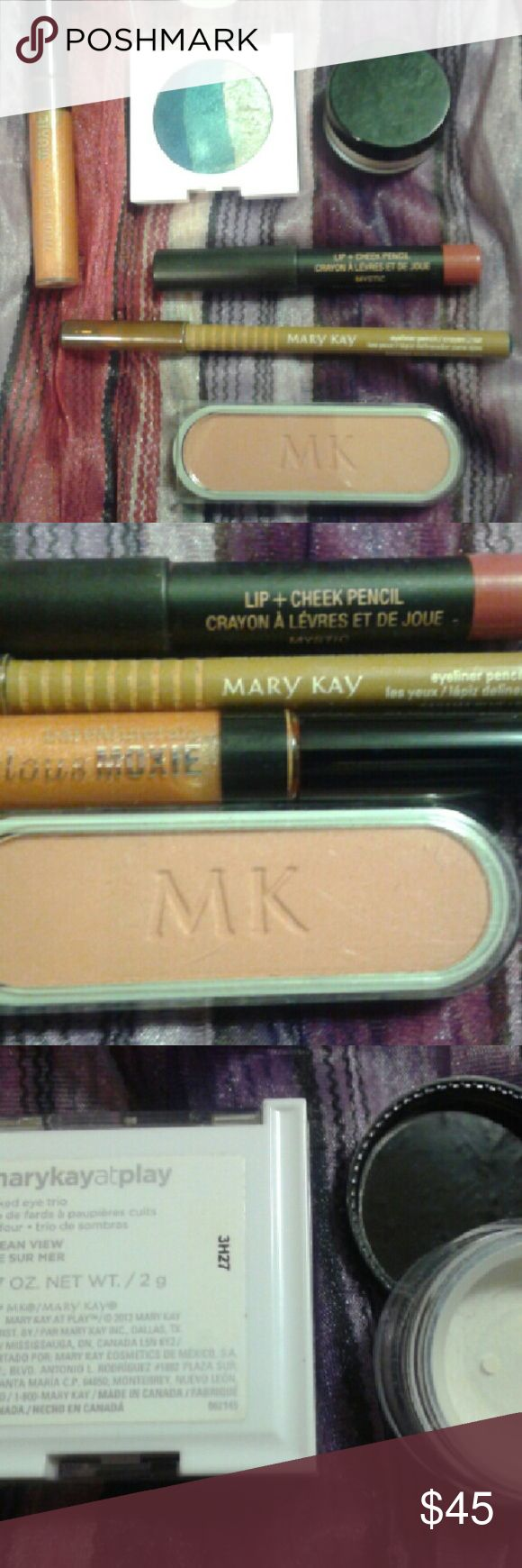 Mary Kay Makeup Bundle w/ Lip/Cheek Pencil This beautiful makeup lot comes with Mary Kay bag, eye liner in blue,  cheek color,  Bare Mineral lip gloss, lip/cheek stain pencil, sheer mineral powder, and sunset blue eye shadow trio. Goes great with all skin types/tones. New BareMinerals  Makeup Eyeshadow