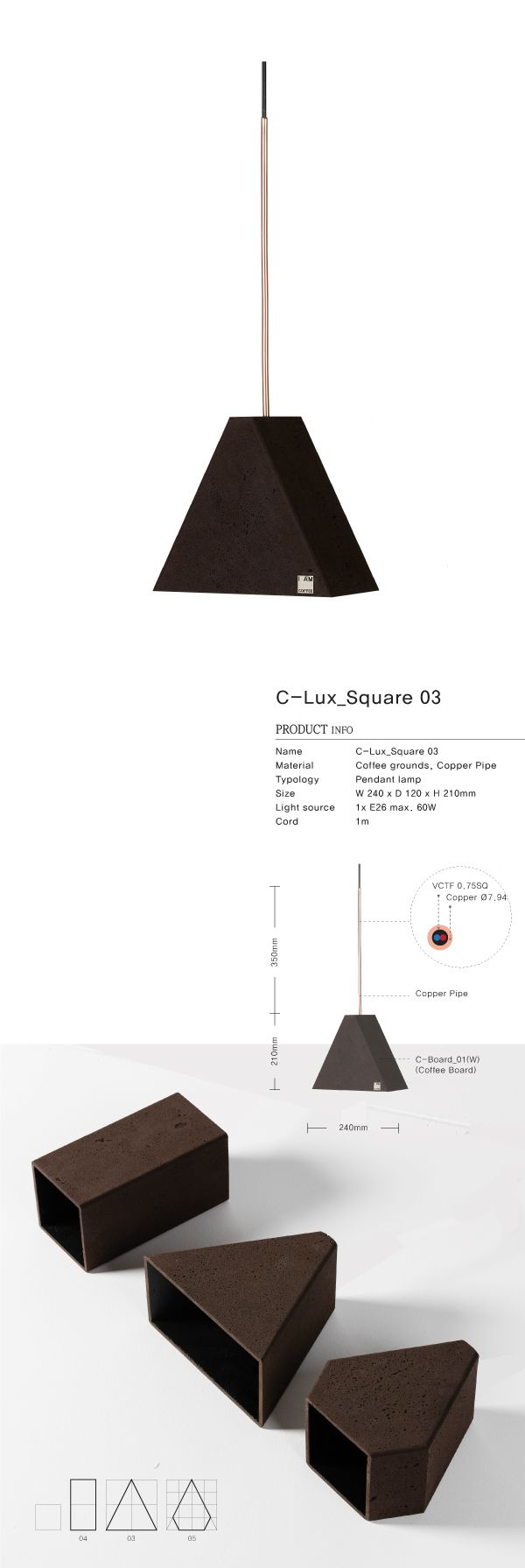 Coffee grounds upcycle product / This C-Lux_Square_03 is made locally using recycled 60 cups coffee grounds / Pendant lamp