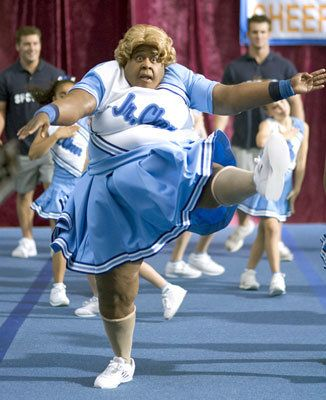 """Martin Lawrence as """"Big Mama"""" in """"Big Momma's House 2"""" undercover as a cheerleader helping the younger daughter"""