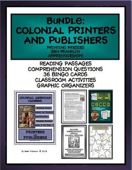 NEW FOR FALL 2016 COLONIAL PRINTERS AND PUBLISHERS This bundled product includes my three Colonial Printers and Publishers products: Careers ($6); Reading Comprehension ($6) and Bingo ($4) - all for $12.00!  Discusses publishers, printers, newspapers, freedom of speech,apprenticeships and Ben Franklin, Printer.  Grades 5-8 and Homeschool.  88 pages.