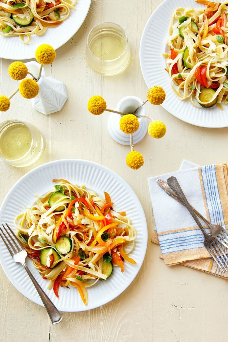 Pasta with Sautéed Peppers, Zucchini, and Smoked Mozzarella  - CountryLiving.com
