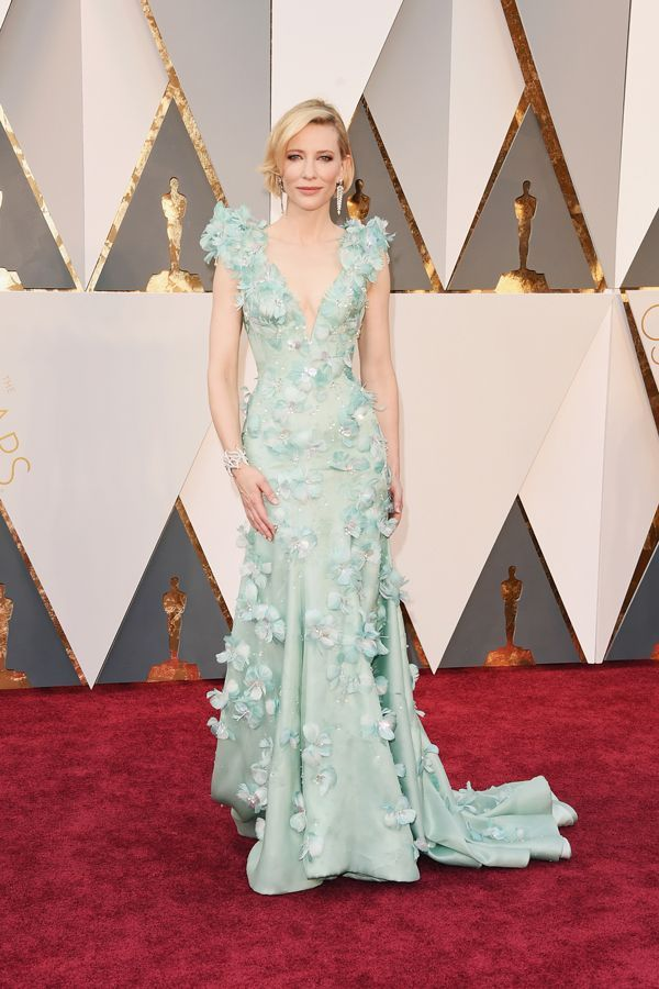 "You know the old saying, ""If it ain't broke, don't fix it?"" Well, Cate Blanchett has found her niche with beautifully colored, embroidered Armani dresses. This year was no exception. The seafoam green number with 3-D flowers channeled her look from the 2014 Academy Awards and it ..."