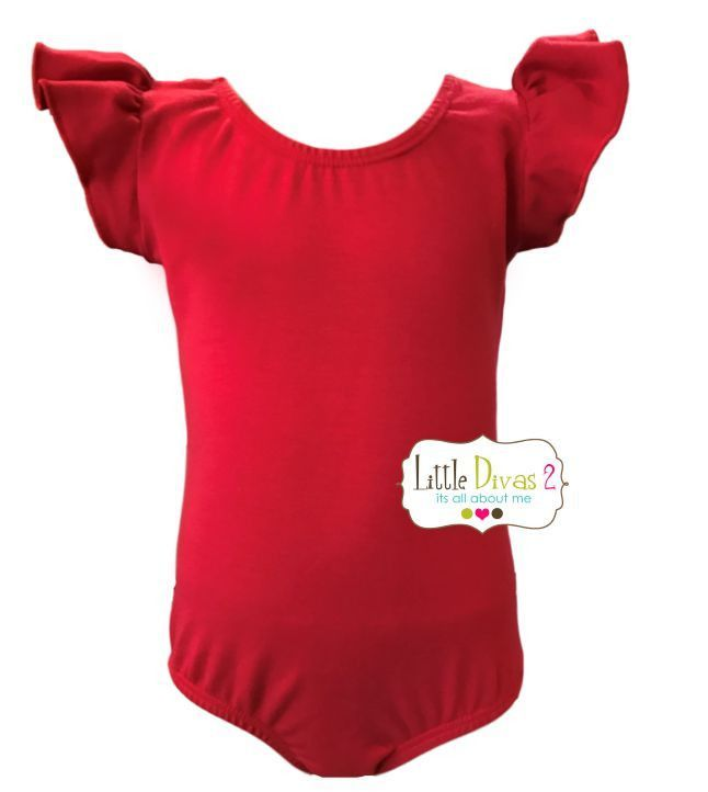 RED LEOTARD (Child) Flutter/Ruffle Sleeve