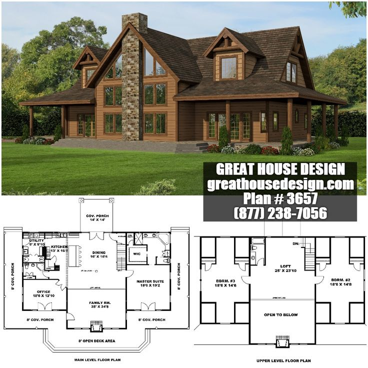 Rustic Open Concept Home Plan # 3657 Toll Free: (877) 238 7056