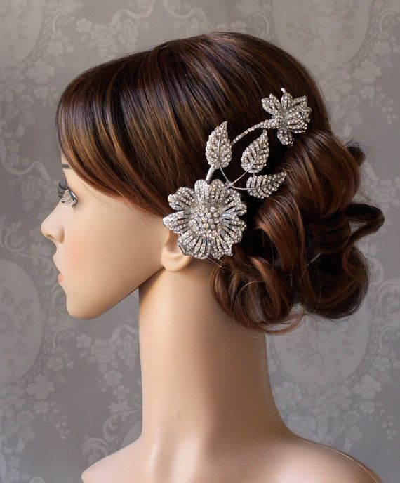 beautiful: Hair Ideas, Glamorous Crystals, Cards Ideas, Wedding Hair, Crystals Floral, Hair Pieces, Hair Accessories, Hair Combs, Floral Hair