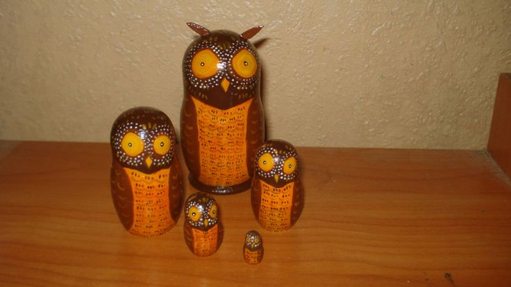 Author's 5 pieces hand painted russian wooden nesting dolls matryoshka OWLS by Matreshkas on Etsy