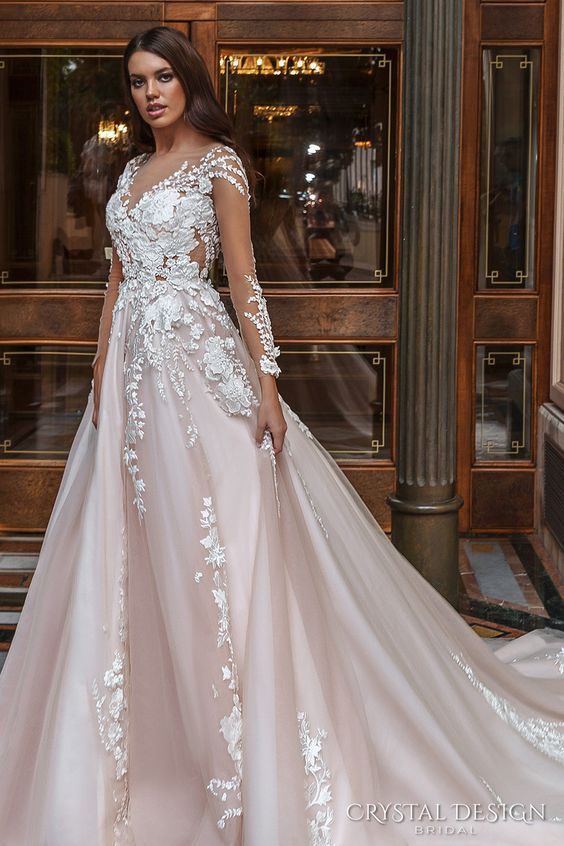 crystal design 2017 bridal long sleeves v neck heavily embellished lace embroidered romantic princess blush color a line wedding dress sheer back long monarch train (aniya) sdv