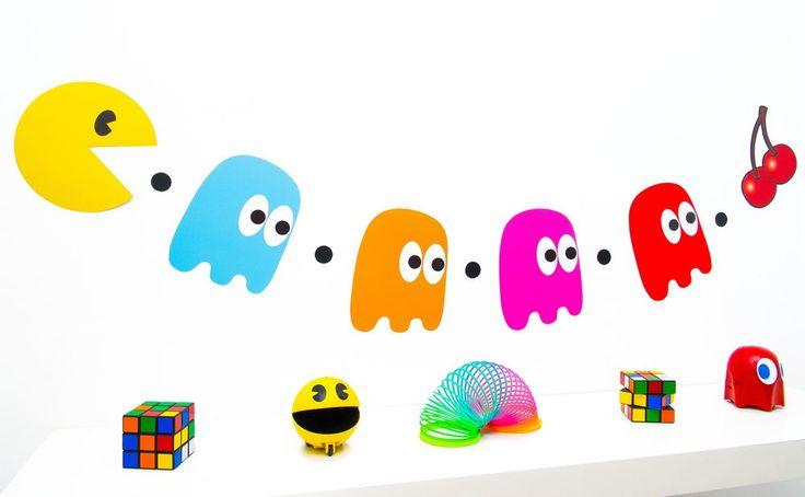 Decoración fiesta 80s-Pacman y los fantasmas empavesado-pac Man - 160cm de largo | Hogar y jardín, Tarjetas y suministros para fiestas, Suministros para fiestas | eBay!