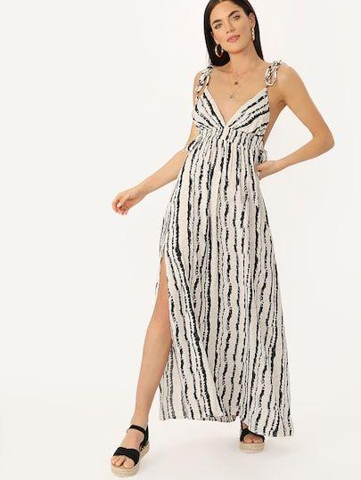 98803b4bc1 Shoulder Tie V-Neck Cinch Waist Striped Maxi Dress #fashion #trends #styles  #shein #sheinside #clothes #fashionista shein #sheinreviews #sheinshopping,  ...