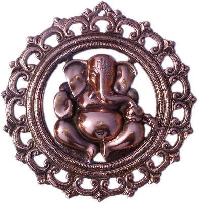 CraftSmith Metallic Auspicious Vinayaka in Round Carving Wall Hanging Showpiece  -  31 cm