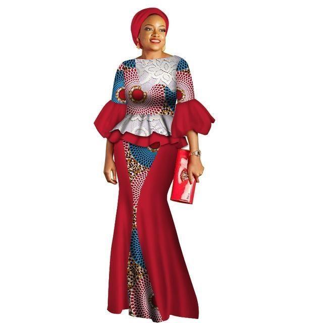 65419c3d68d64 African Style Top and Long Skirt Women Bazin Cotton Print Kitenge ...