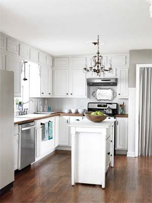 luvin the light fixture!!Kitchen Makeovers, Countertops, Silver Trays, Kitchens Ideas, Country Living,  Microwave Ovens, Kitchens Makeovers, White Cabinets, White Kitchens