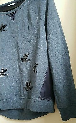 Anthropologie Leifnotes sweater sequined bird top migration shirt small?
