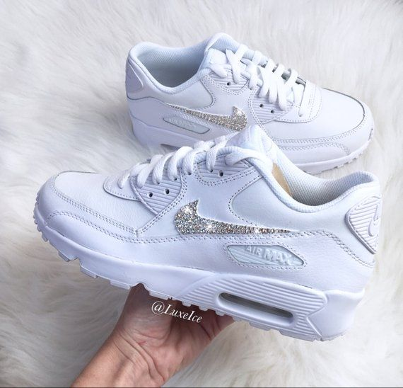 buy good great deals 2017 details for Swarovski Bling Nike Air Max 90 Womens Girls White Casual Shoes ...