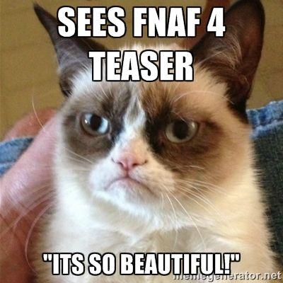 "sees fnaf 4 teaser ""its so beautiful!"" - Grumpy Cat | Meme Generator"