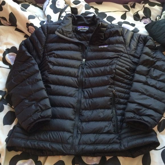 Patagonia down sweater jacket in black Patagonia down sweater jacket in black, small holes on back and inside (pictured) Patagonia Jackets & Coats