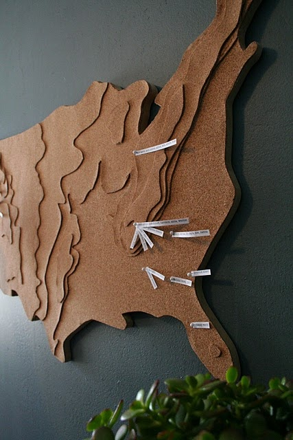 love this idea for an artsy map. the little white papers are peoples' names who live in that area! from design dump.