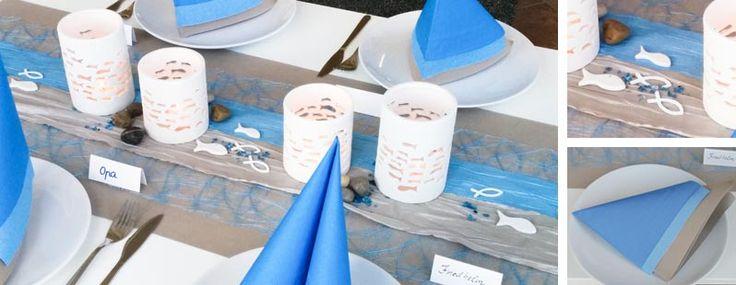 Tischdeko zur Kommunion / Konfirmation zum Thema Fische in Hellblau und Pearl