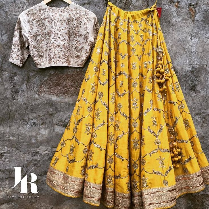 Here s to a refreshing Friday morning. Beautiful yellow color lehenga and ivory crop top with hand embroidery zardosi work. Contact on +917330687770 or email on jayantireddyofficial@gmail.com for enquiries and orders. 07 September 2017