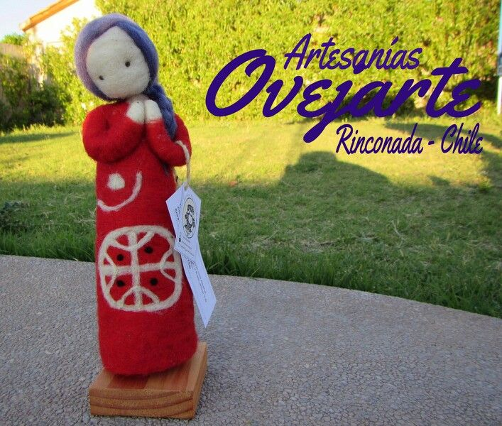 Escultura en vellón inspirada en nuestra bella mujer Mapuche en Artesanías Ovejarte