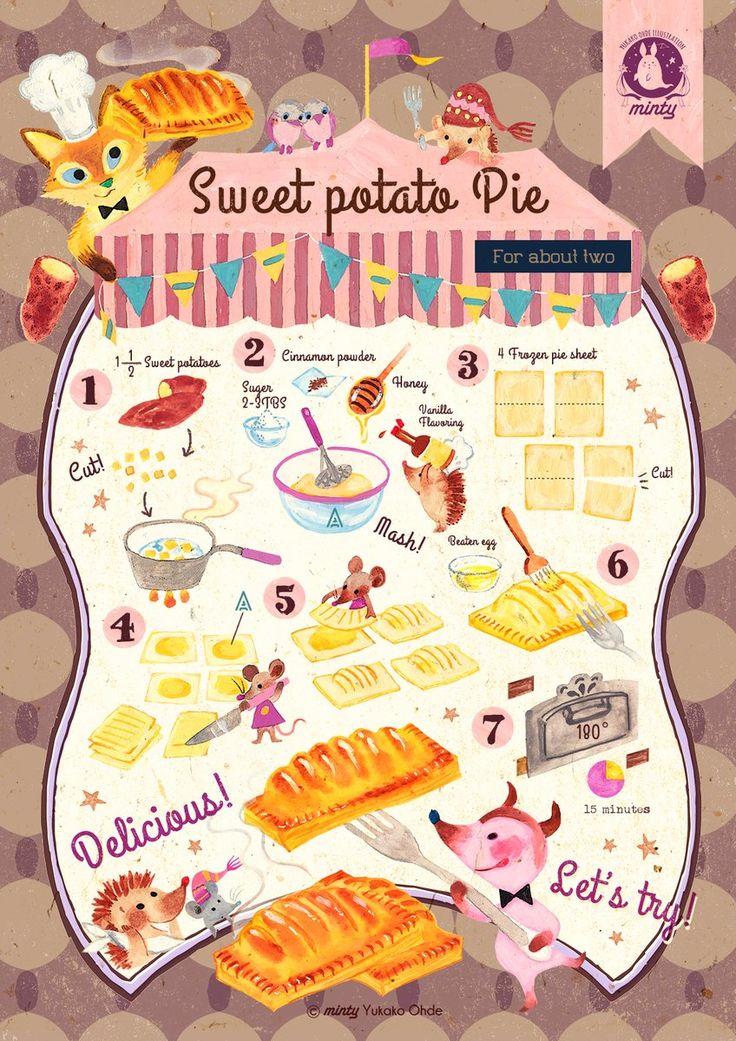 おおでゆかこ@以前描いたレシピでスイートポテトパイアイスと食べると美味しい〜外はパリパリ、中はホクホク