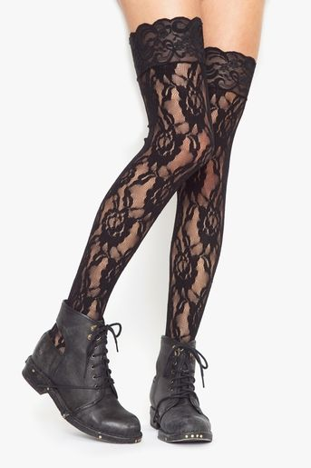lace knee highs! gonna purchase me some and add this look to my style...one day.