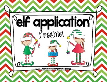 FREEBIE!!!  This cute freebie has your little elves applying for 1 of 3 jobs in the: Elf Toy Workshop, Elf Bakery, or Elf Gift Wrapping.