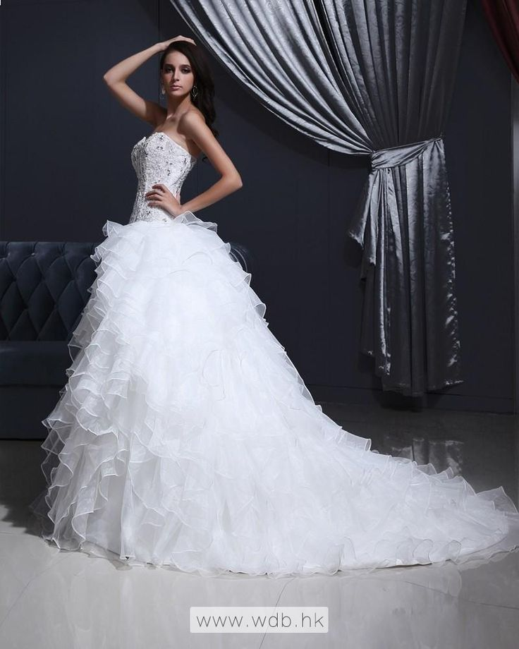 Tulle Organza Strapless Appliques Bead A-line Wedding Dress $398.98