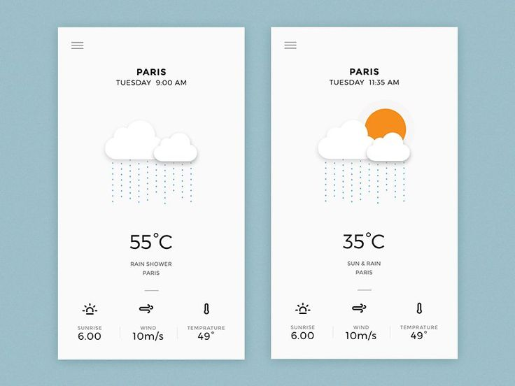 Weather App - App Design - Application, App, UI, Clean, Minimal, Black & White, Accent Color, Icon, Clouds, Sun, Wheater