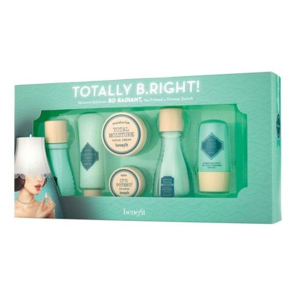 Women's Benefit Totally B.right! 6-Piece Radiant Skin Care Set ($20) ❤ liked on Polyvore featuring beauty products, gift sets & kits, no color, travel size perfume and benefit perfume