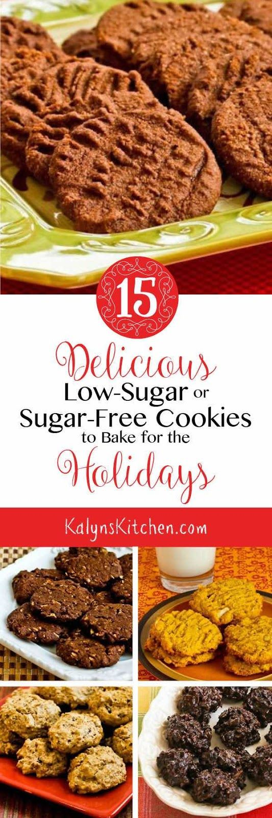 15 Delicious Low-Sugar or Sugar-Free Cookies to Bake for the Holidays; make the cookies with the sweetener of your choice (for sugar-free) or use a small amount of brown sugar (for low-sugar); your choice! All these cookies are delicious.  [found on KalynsKitchen.com]