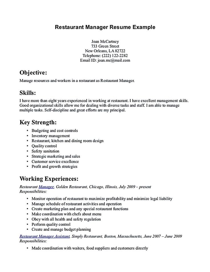 7 Best Resume Images On Pinterest Career, Restaurant Ideas And   Resume  Examples For Restaurant  Resume Examples For Restaurant