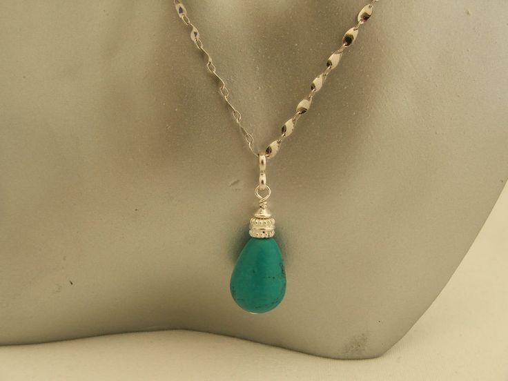 Green Turquoise Teardrop Sterling Silver Pendant on Fancy 925 Silver Chain in Jewellery & Watches, Fine Jewellery, Fine Necklaces & Pendants | eBay