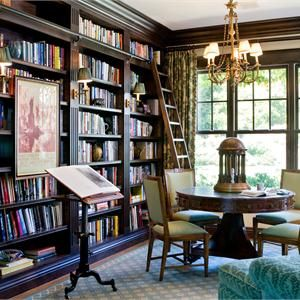 Traditional (Victorian, Colonial) Library by Timothy Corrigan