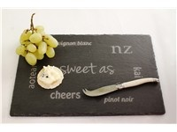 Slate Plate Word Art :: Beautiful, natural & practical slate plates...they're all the trend in Europe and destined for success here. There are 4 options - 1 plain and 3 distinctly New Zealand designs. Designed and sand-blasted here in New Zealand.