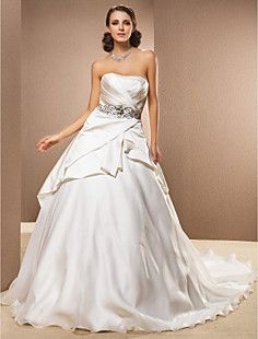 Ball Gown Strapless Cathedral Train Satin And Organza Weddin... – USD $ 299.99