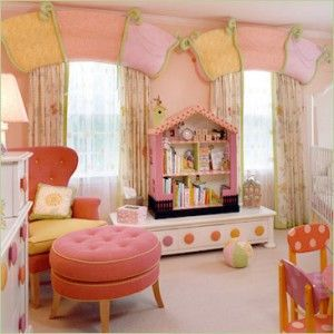i like the window treatments, soft colors, and the doll house book shelf in this little girls room.