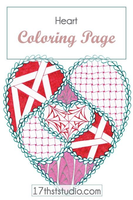 Relax your frazzled self with a glass of wine & a Valentine – coloring page, that is.