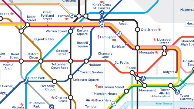 London Underground / Tube map detail. Copyright TfL