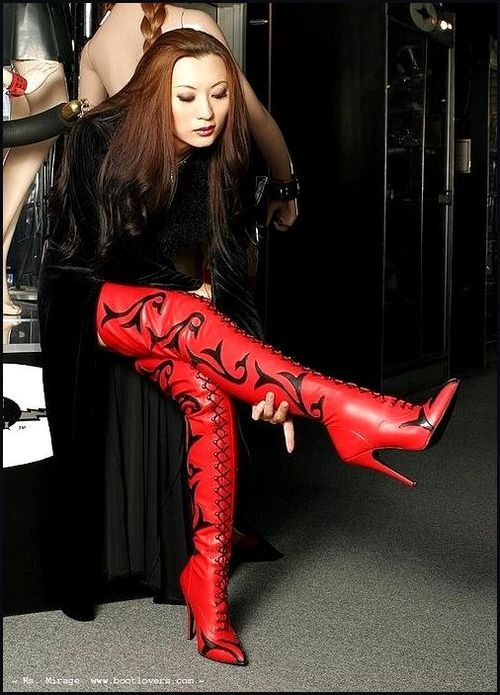 red thigh high boots with black print