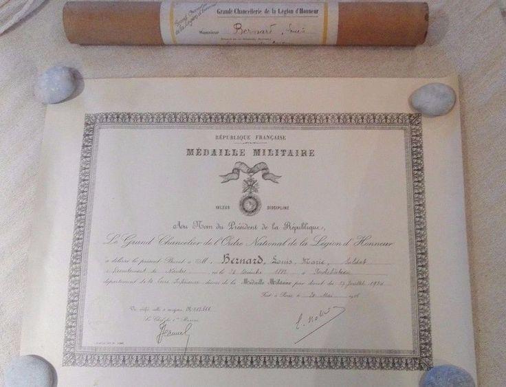 Brevet médaille militaire 1934/soldat Nantes/chancellerie légion d honneur. | eBay