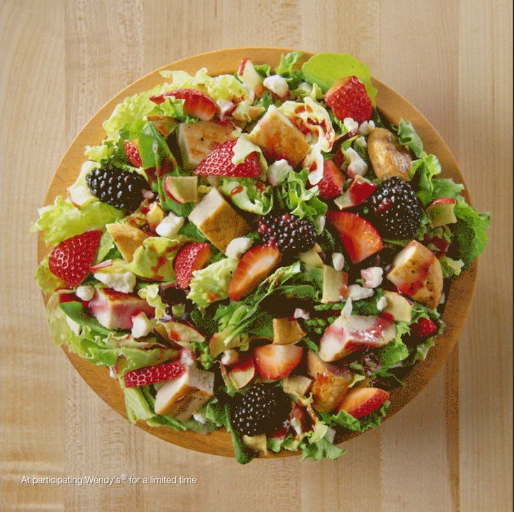 Wendy's new Summer Berry Chicken Salad is here, get it before berry season is over. It is absolutely delicious with the Blueberry vinegrette dressing!!