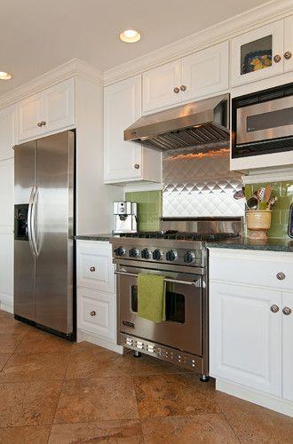 Kitchen decor, Kitchen designs, Kitchen decorating ideas - Stainless steel backsplash by Elizabeth P. Lord Residential Design