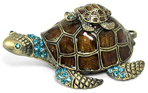 Welforth Turtle on Turtle Jewelry Box w/ Crystals: