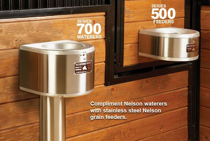 Nelson Mfg | Automatic Horse Waterers Series 700 - Compliment Nelson waterers with stainless steel Nelson grain feeders. https://www.nelsonmfg.com/horse-waterers/700/